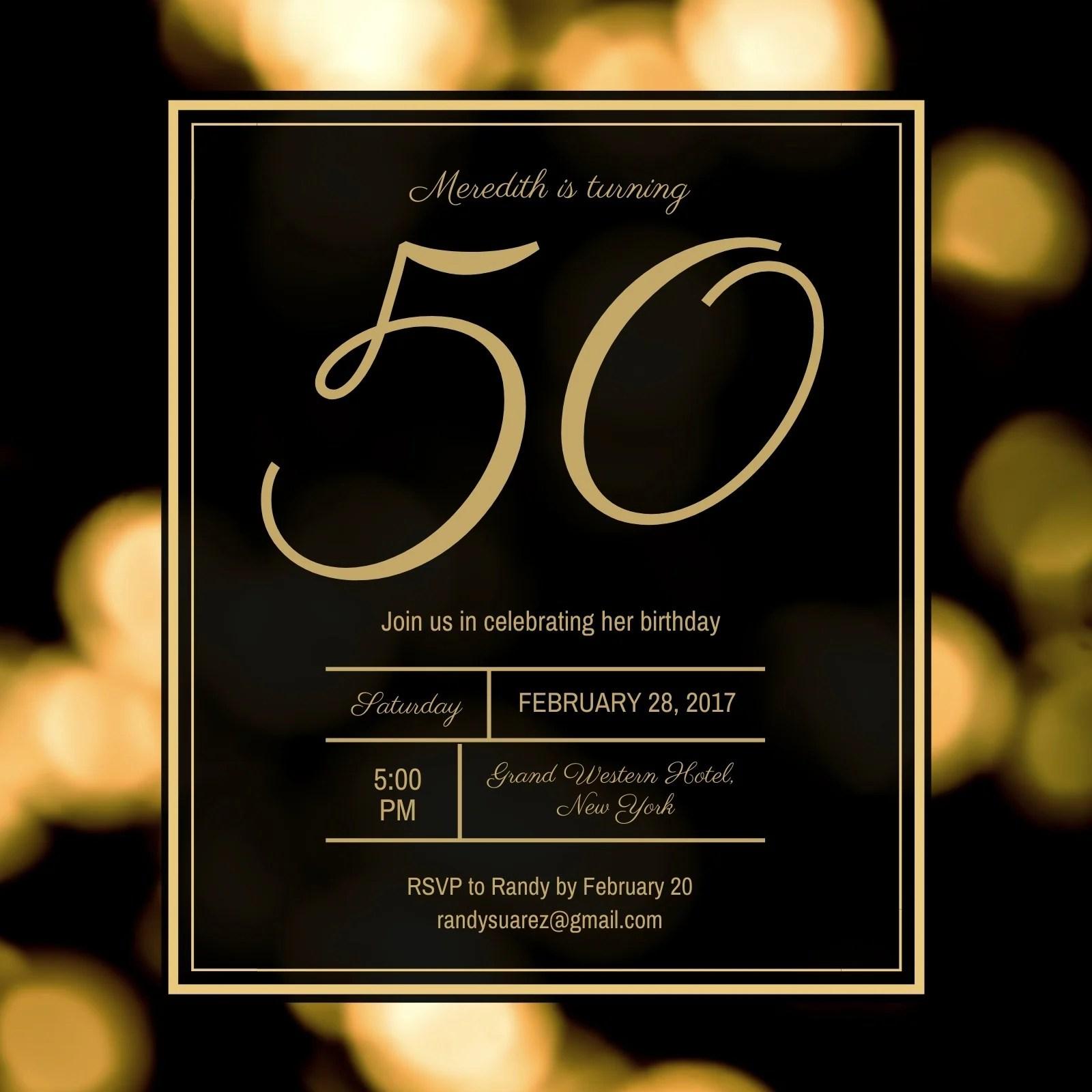 Free Printable Custom 50th Birthday Invitation Templates Canva
