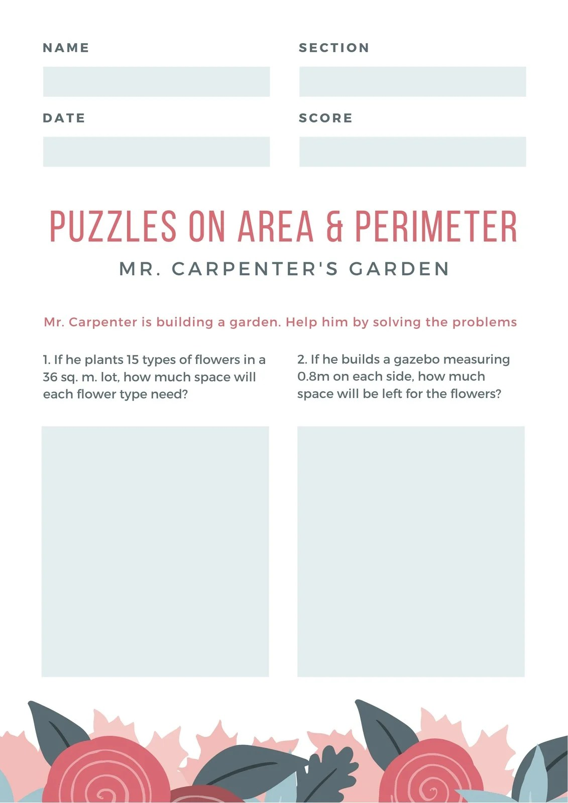 Pink And Blue Floral Area Amp Perimeter Math Games Worksheet