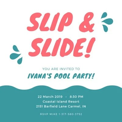 pool party invitation templates