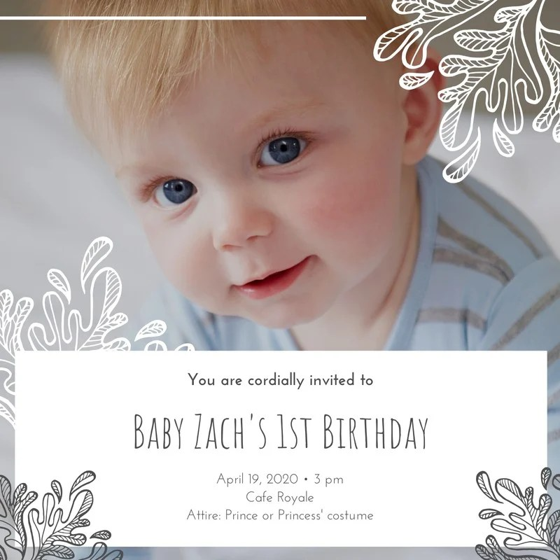 White Grey Boy Son 1st Birthday Invitation Templates By Canva