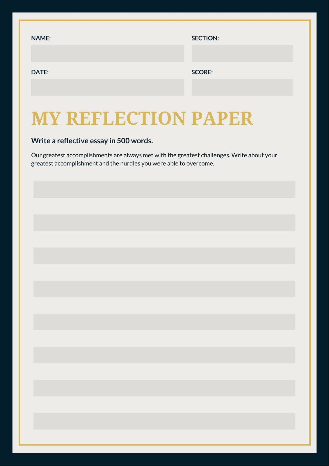 Dark Blue And Yellow Pattern Reflection Writing Prompt