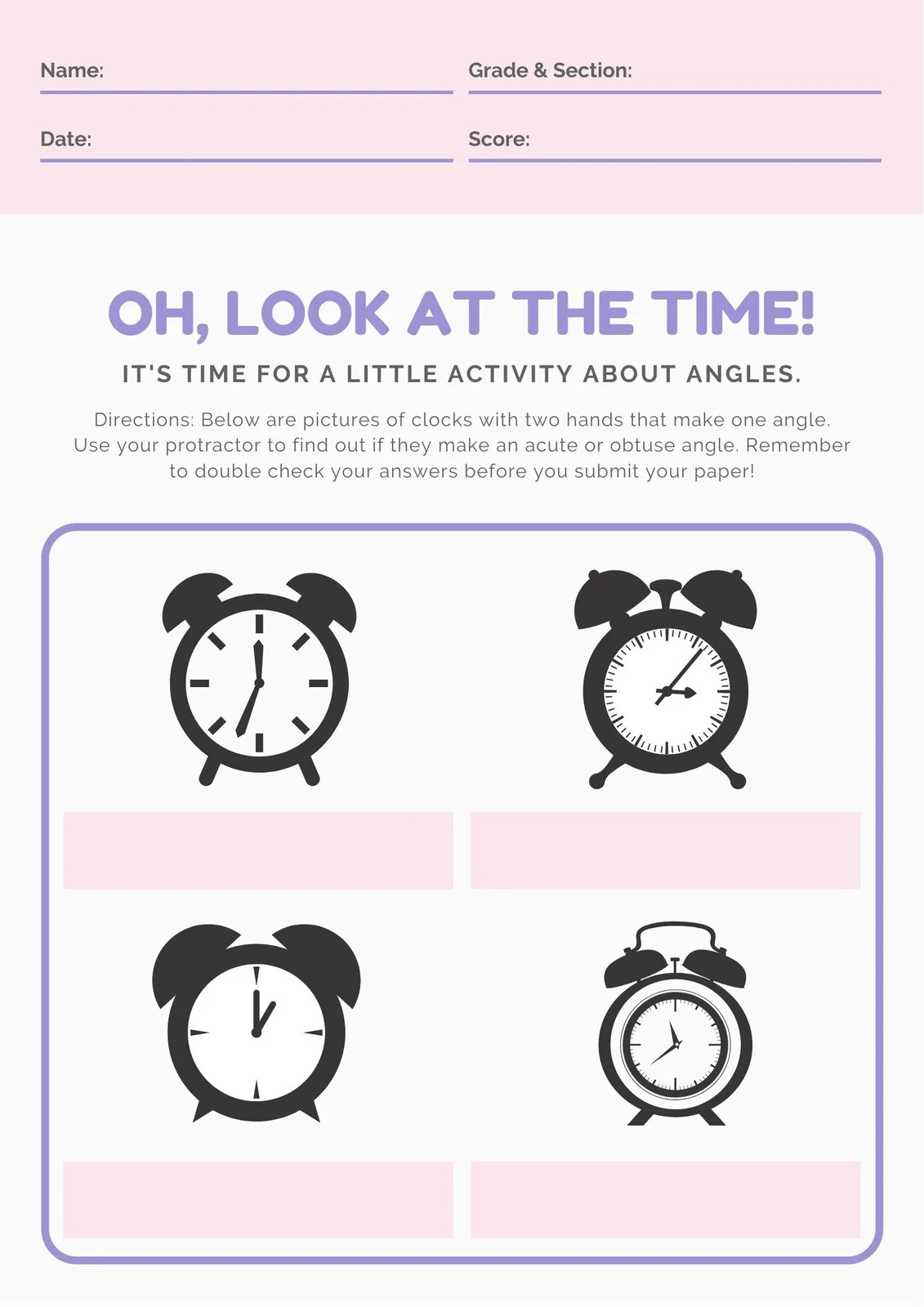 Pink And Purple Clock Angles Math Games Worksheet
