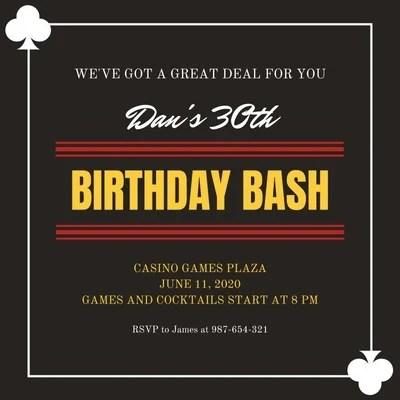 free casino invitations templates to