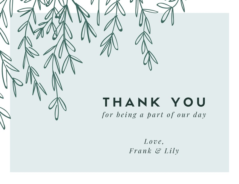Green Leaves Wedding Thank You Card Templates By Canva