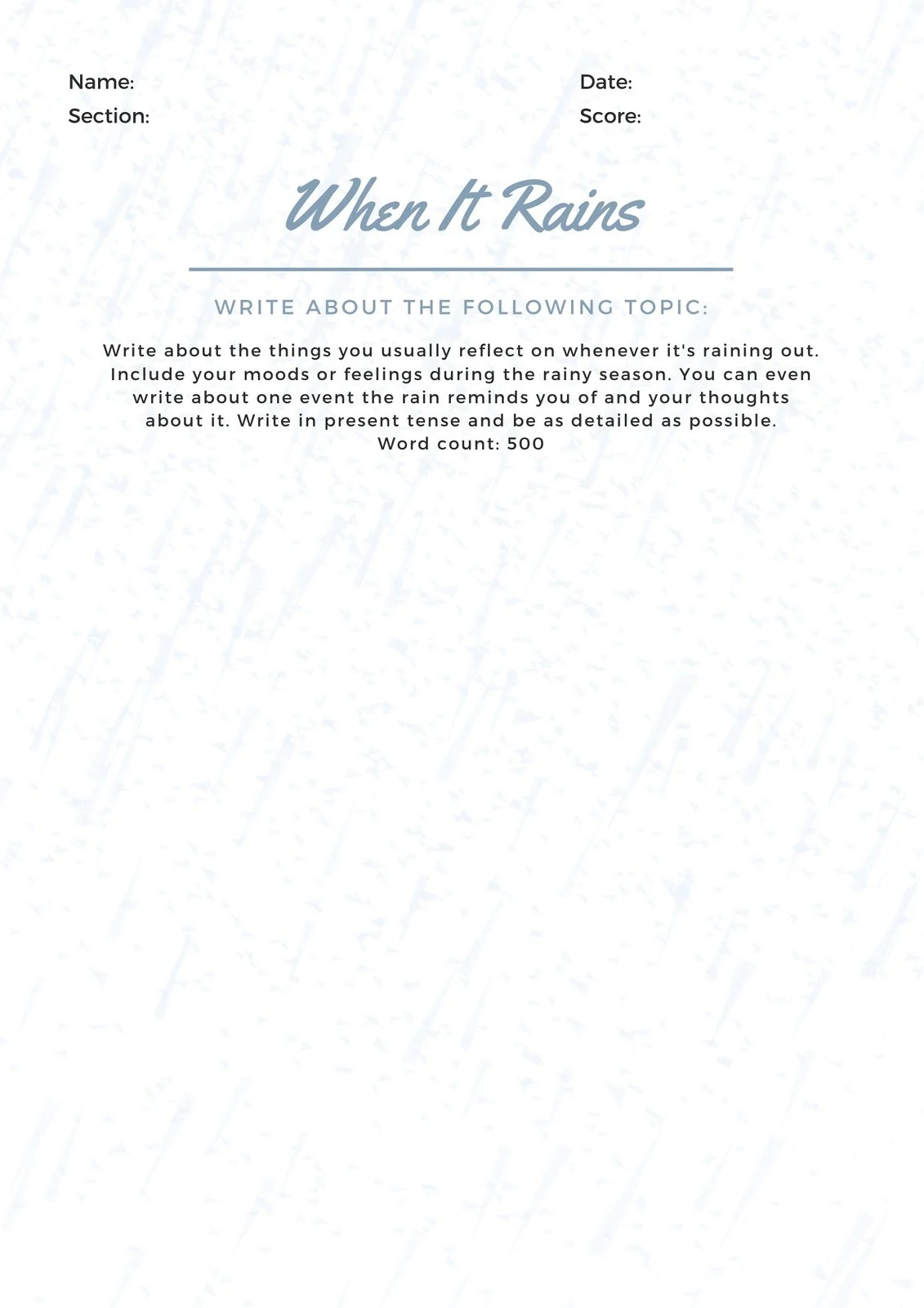 Blue Reflection Writing Prompt Worksheet