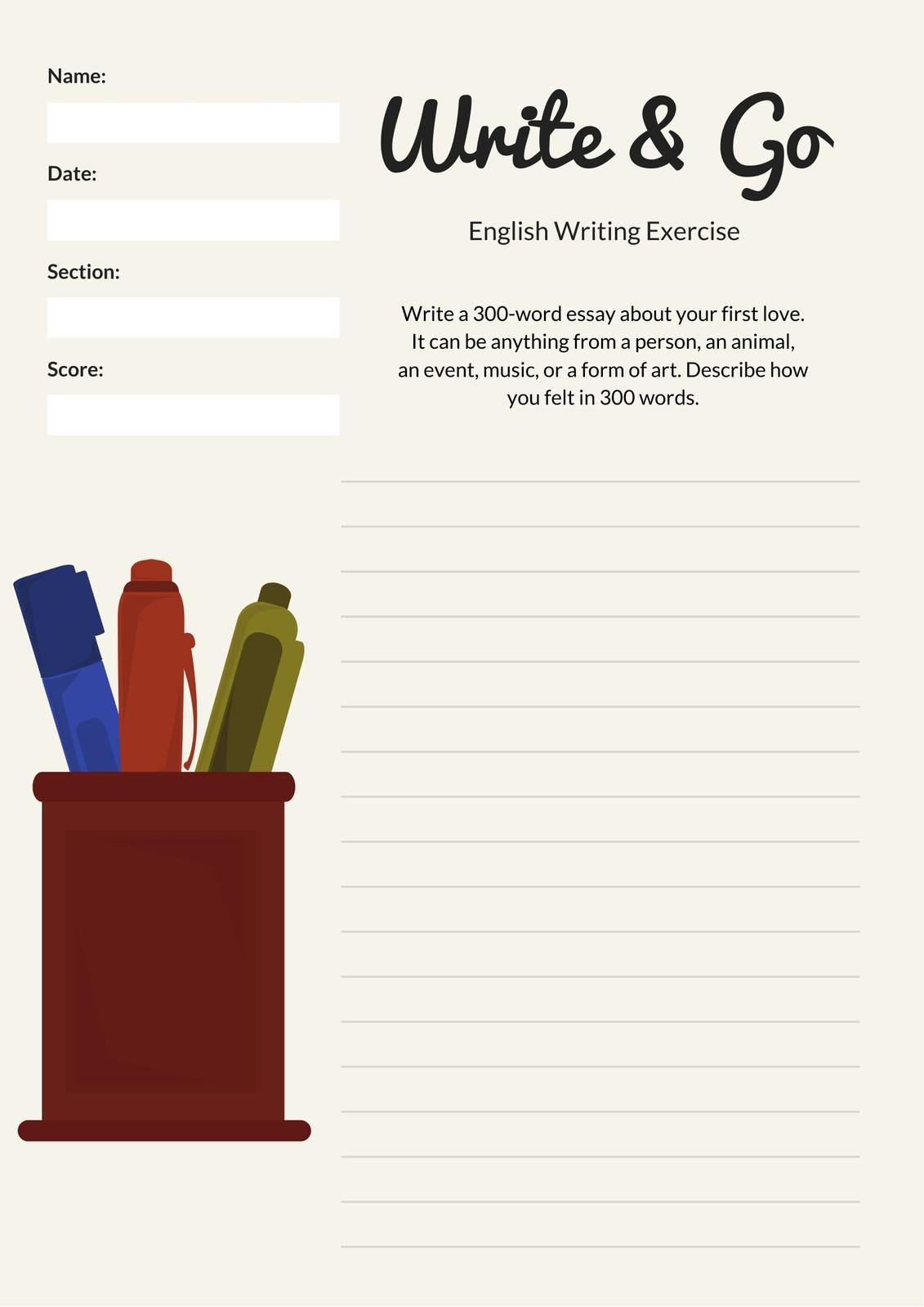 Cream Pen Illustration Essay Writing Prompt Worksheet