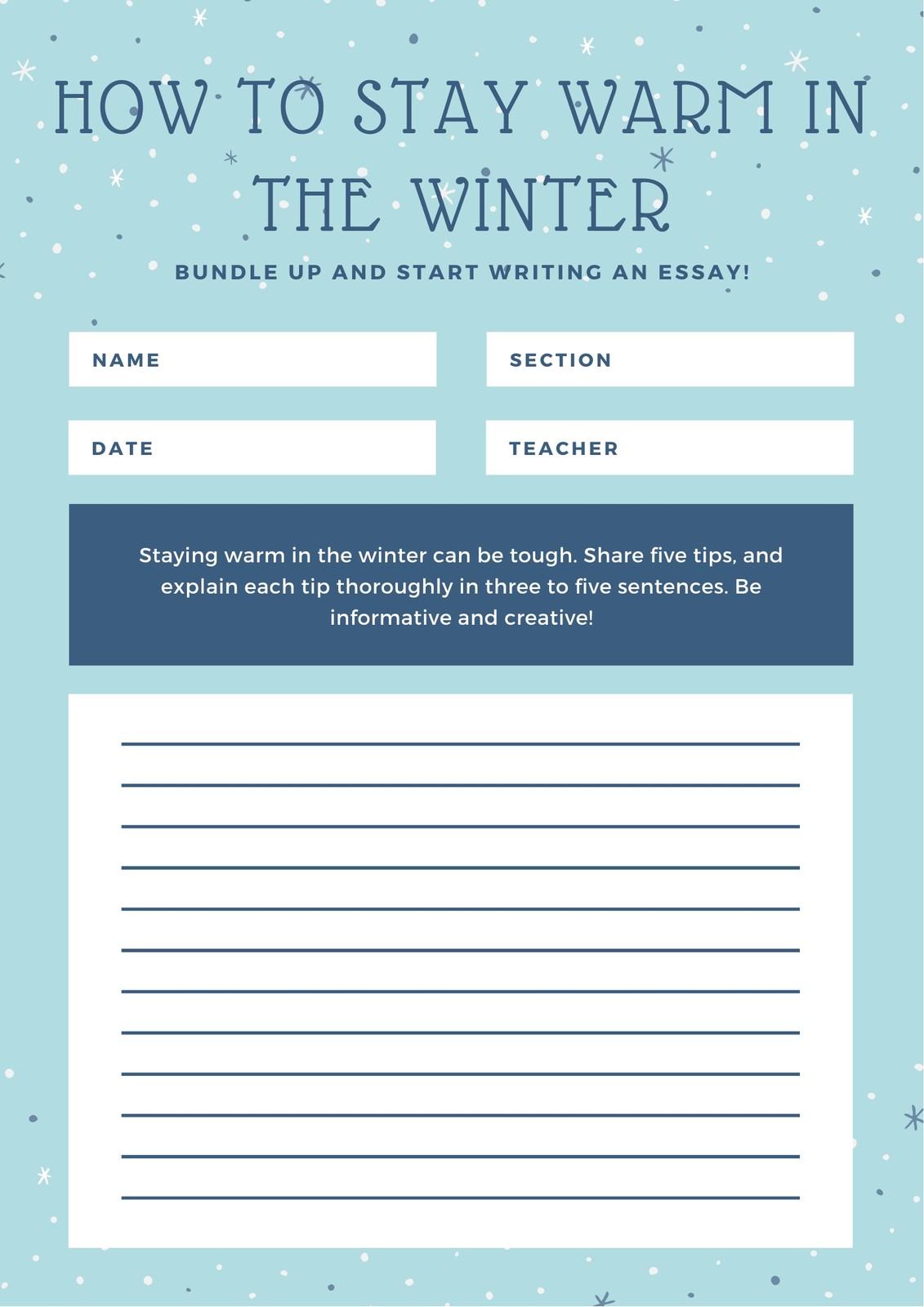 Blue Snow Informational Writing Prompt Worksheet