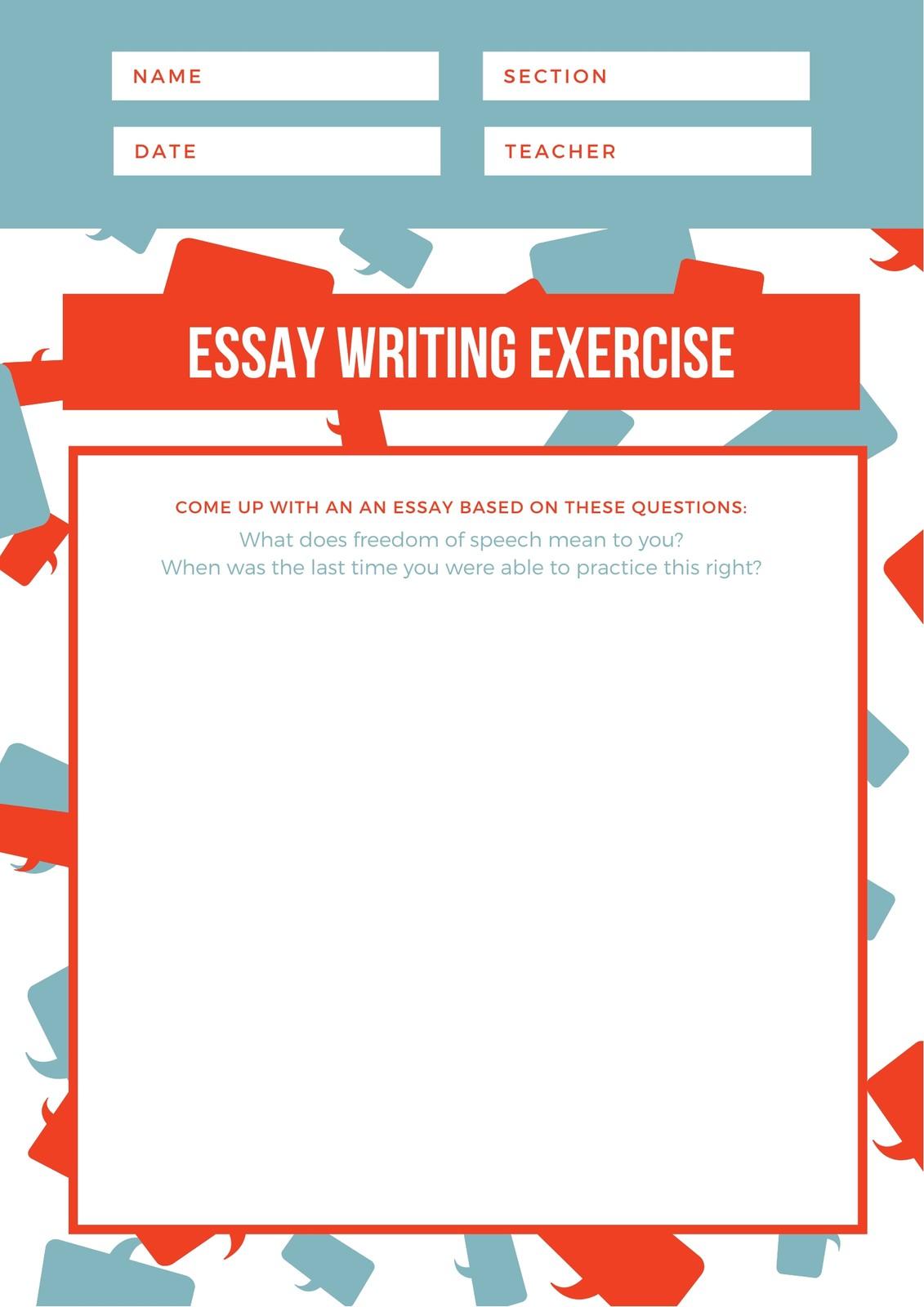 Orange And Blue Speech Bubble Pattern Essay Writing Prompt