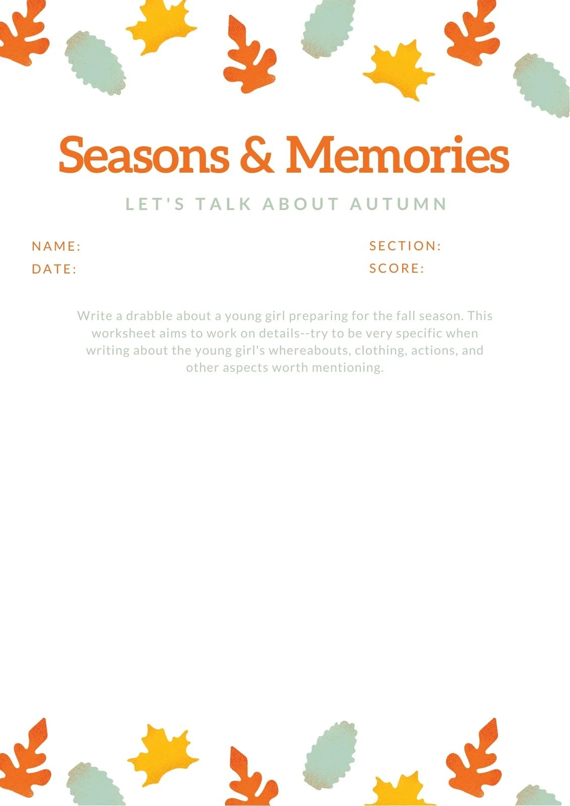 Colorful Leaves Fall Autumn Writing Prompt Worksheet