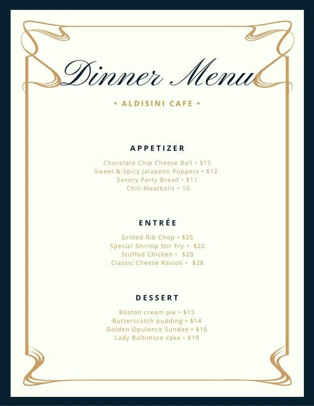 Cream And Blue Fancy Border Dinner Menu Templates By Canva