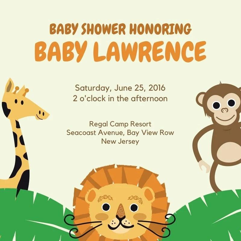Safari Baby Shower Invitation Templates By Canva