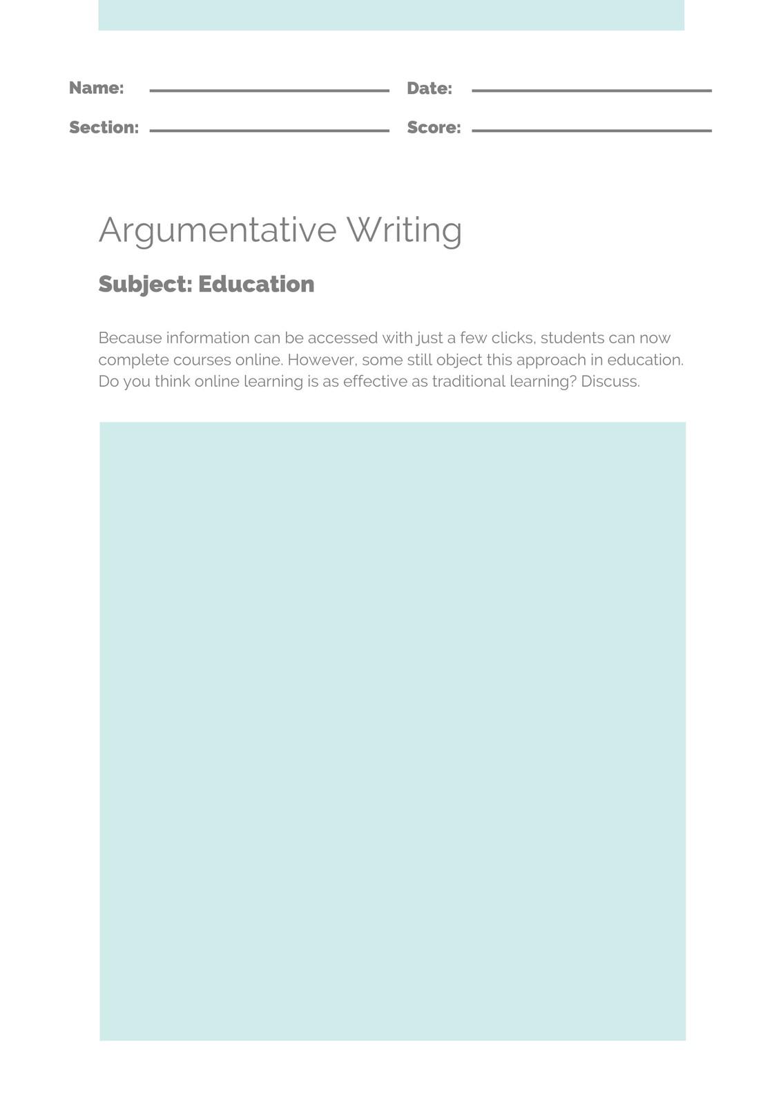 Blue And Gray Debate Writing Prompt Worksheet