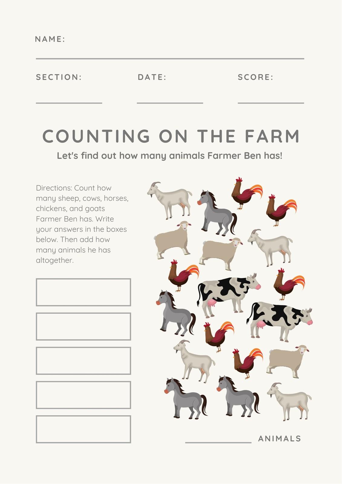Cream Animal Addition Math Games Worksheet