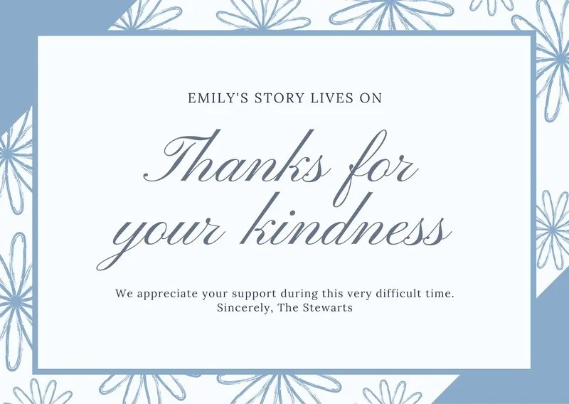 Greyish Blue Flowers Funeral Thank You Card Templates By Canva