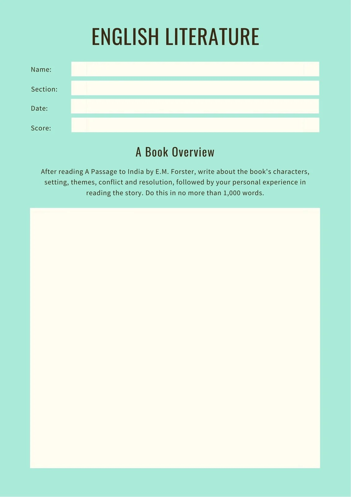 Green Brown Summary Writing Prompt Worksheet