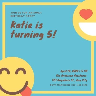 free emoji party invitations templates