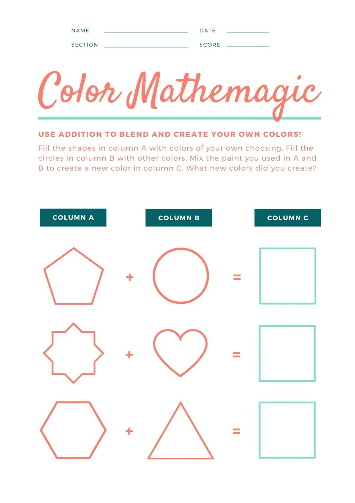 Green And Orange Shapes Math Game Colors Worksheet
