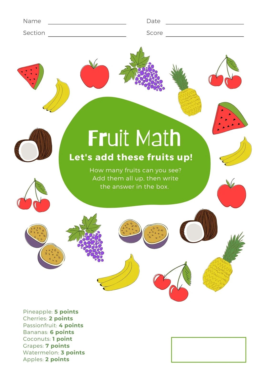White With Fruits Addition Math Games Worksheet