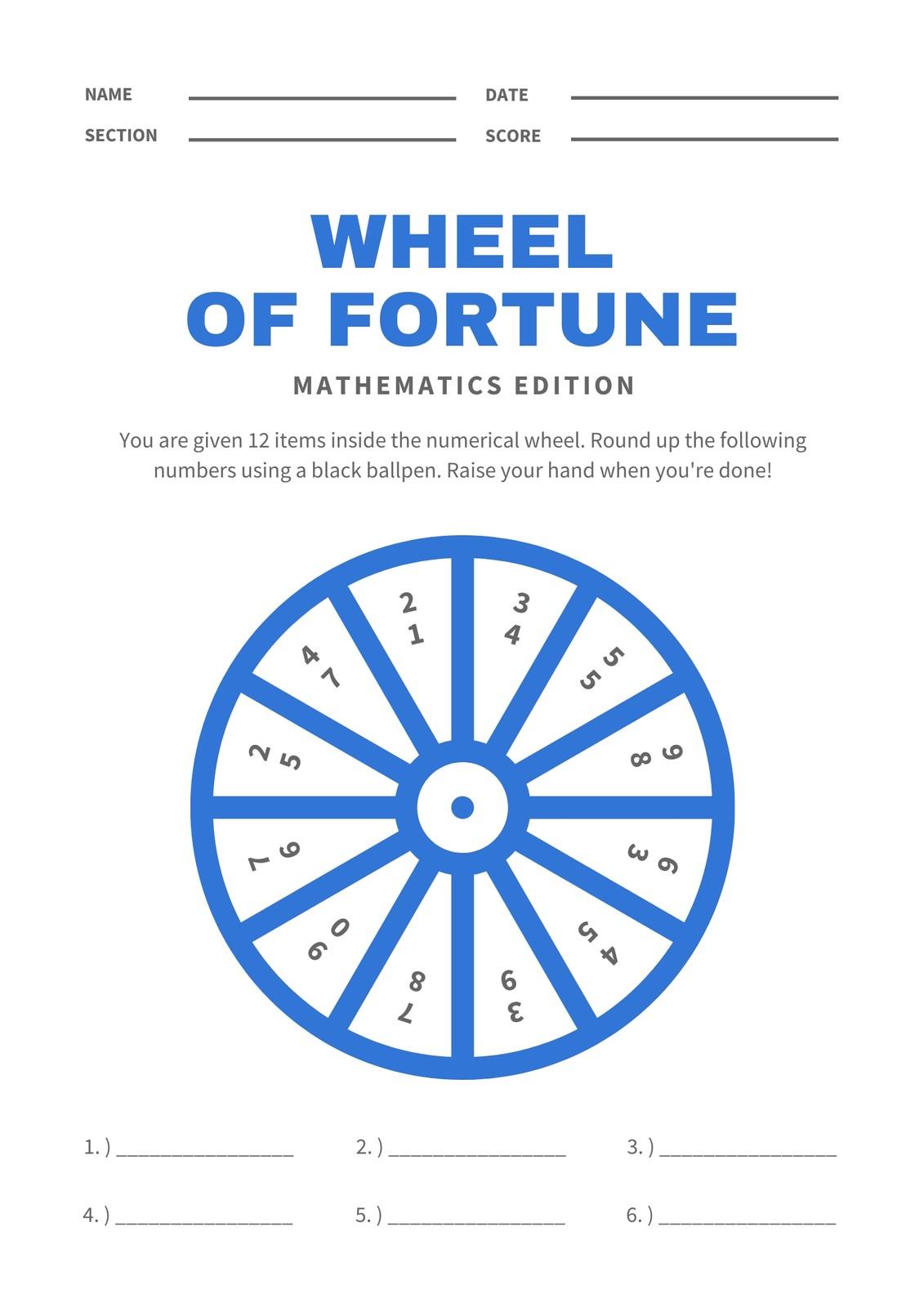 White And Blue Wheel Rounding Math Games Worksheet