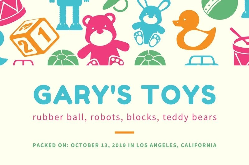 Colorful Illustration Toy Storage Label Templates By Canva