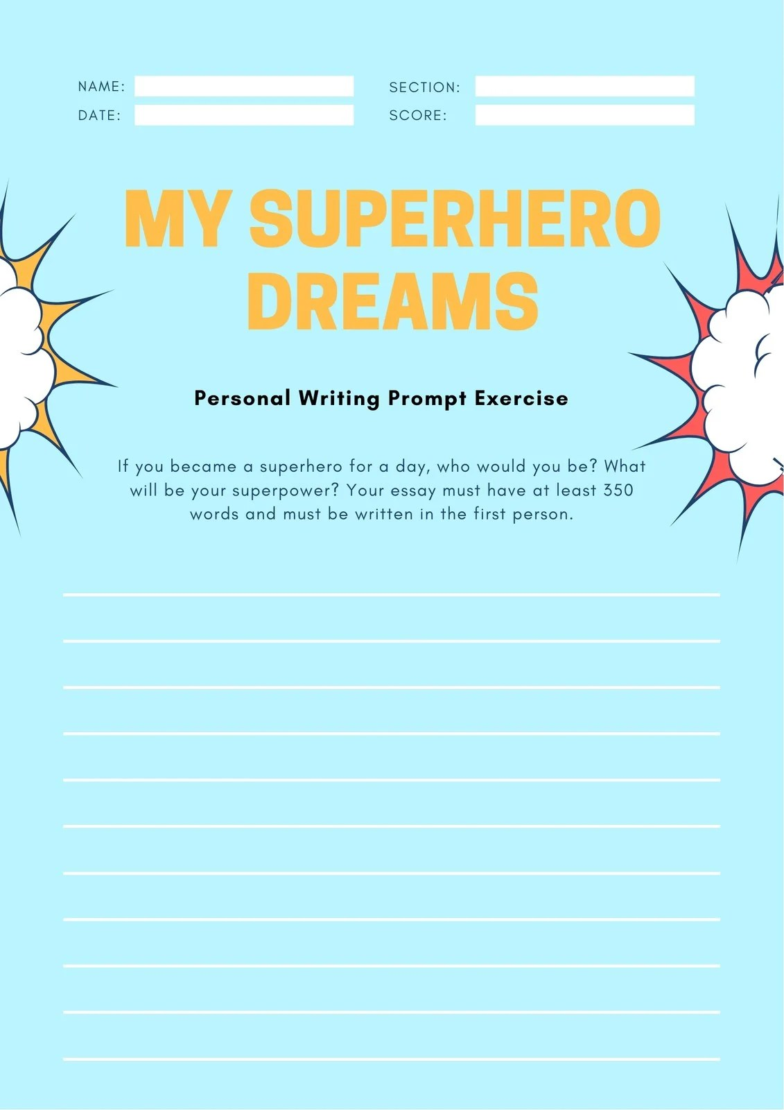 Blue Comic Explosion Writing Prompt Personal Worksheet