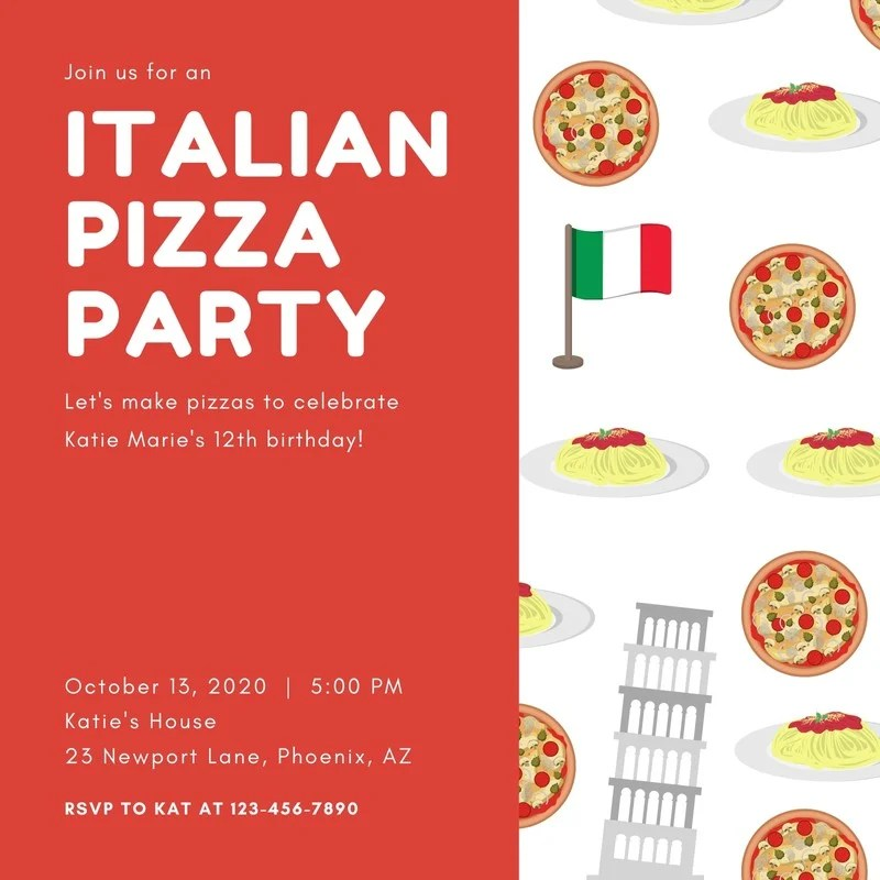 Red With Italian Pizza Graphic Pattern Pizza Party