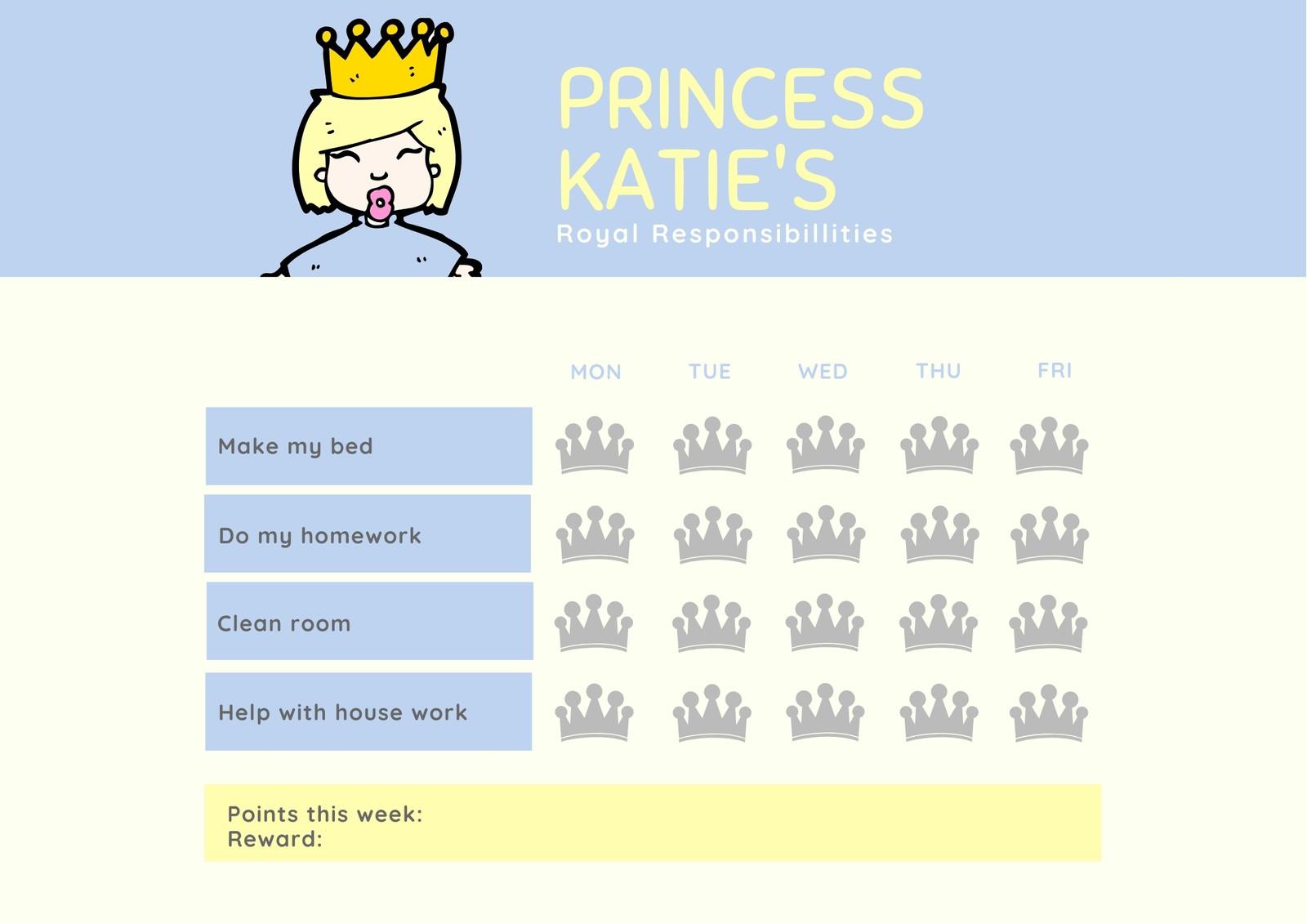 Blue And Yellow Princess Reward Chart Worksheet
