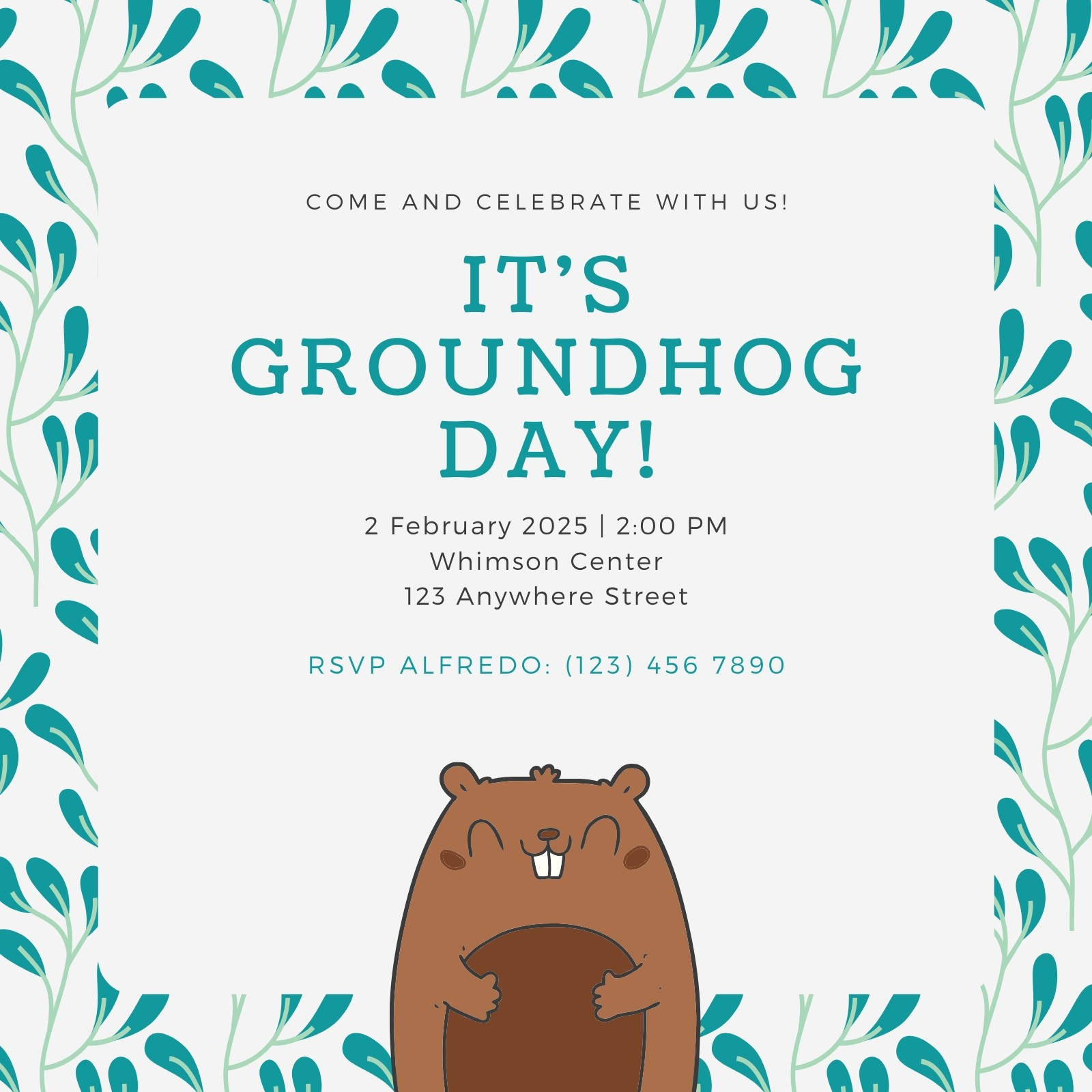 Teal Spring Pattern Groundhog Day Invitation