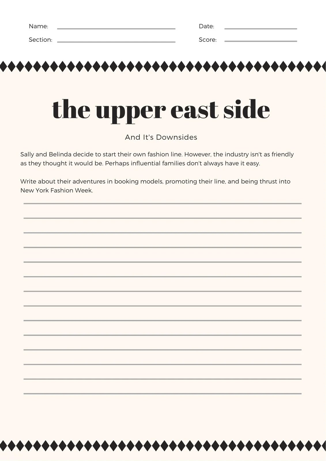 Cream Simple Diamond Patterned Writing Prompt Worksheet