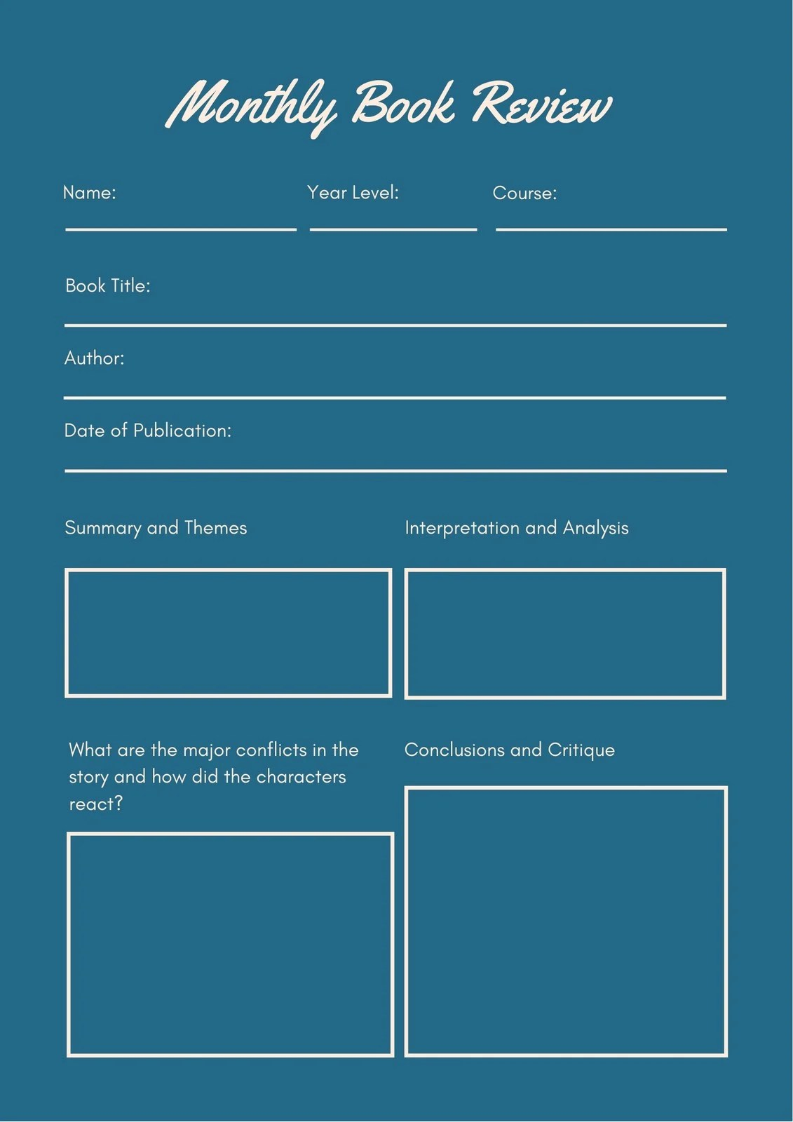 Teal Simple Framed Book Review College Worksheet