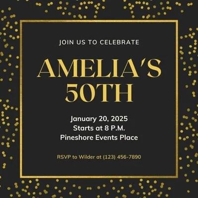 black and yellow modern elegant birthday animated square invitation