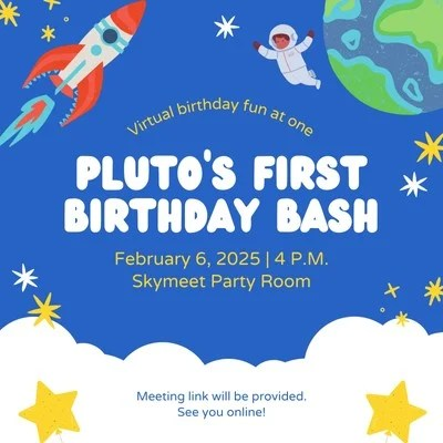 blue and white space kiddie type birthday animated square invitation