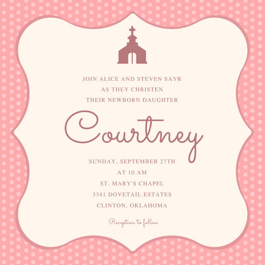 Pink Background Christening Invitation Templates By Canva