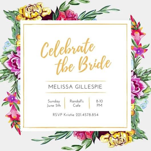 Celebrate Bridal Shower Flower Invitation