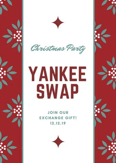 Red And Green Office Christmas Party Yankee Swap Flyer