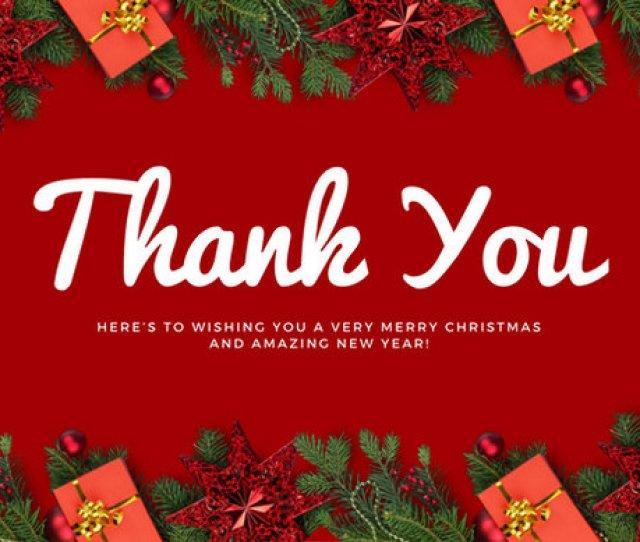 Red Christmas Decor Christmas Thank You Card