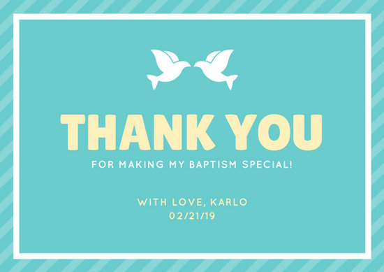 Customize 50 Christening Thank You Card Templates Online Canva
