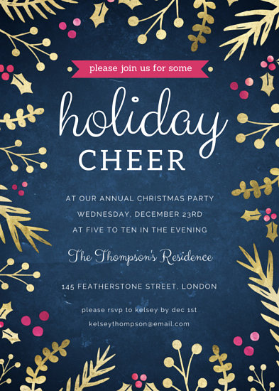 Gold Sprigs Christmas Party Invitation Templates By Canva
