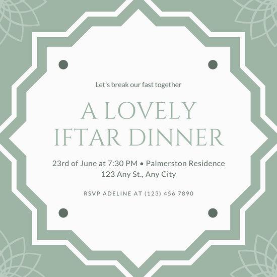 Green And White Diamond Patterned Ramadan Invitation