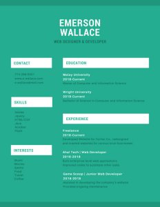 Customize 527  Simple Resume templates online   Canva Green and White Simple Resume