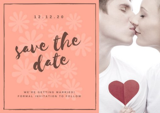 Customize 4 985  Save The Date Invitation templates online   Canva Peach Modern Wedding Save the Date Invitation