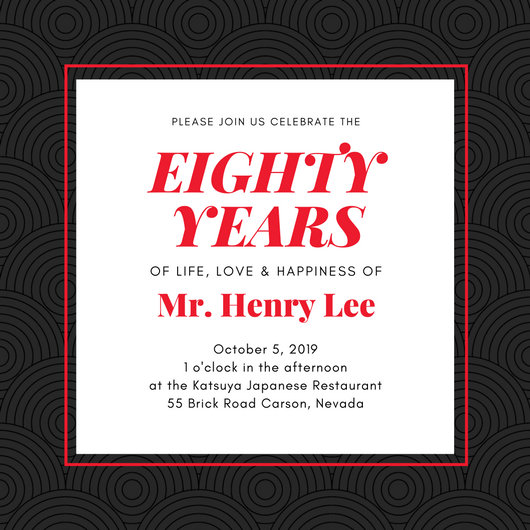 Black Red Japanese 80th Birthday Invitation Templates By Canva