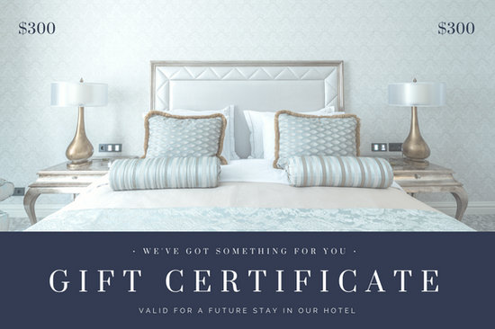 Blue Gray Bedroom Photo Hotel Gift Certificate Templates By Canva