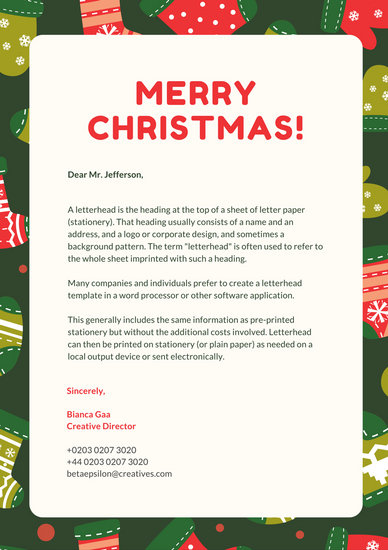 Forest Green And Red Christmas Letterhead Templates By Canva