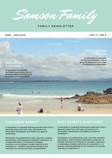 Coral Green Simple Beach Vacation Family Newsletter Templates By Canva