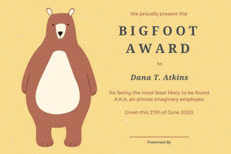 Customize 534  Award Certificate templates online   Canva Yellow Bear Funny Award Certificate