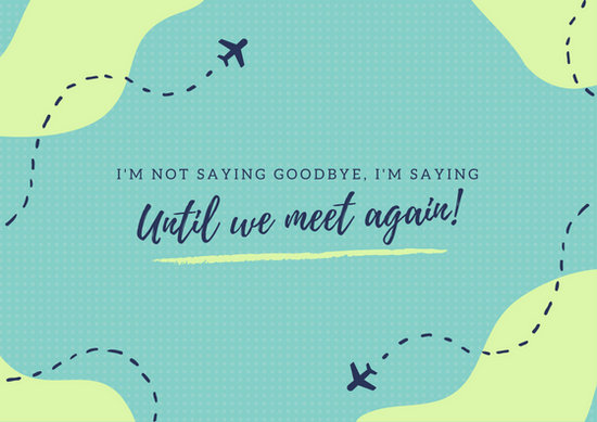 Blue Green Illustrated Plane Trail Map Farewell Card