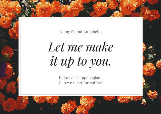 Orange Flowers Apology Card Templates By Canva