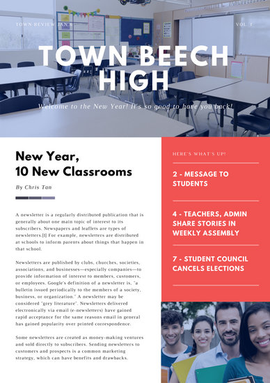 Red And White Modern Back To School Newsletter Templates
