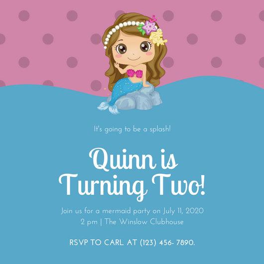 Blue Pink Girly Mermaid Baby Birthday Invitation Templates By Canva